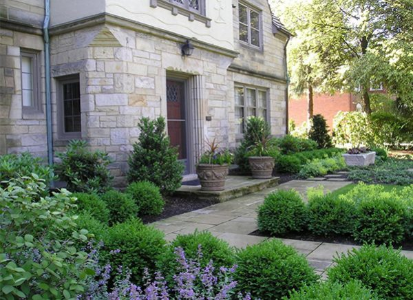 An example of a foundation garden where the shrubs have grown